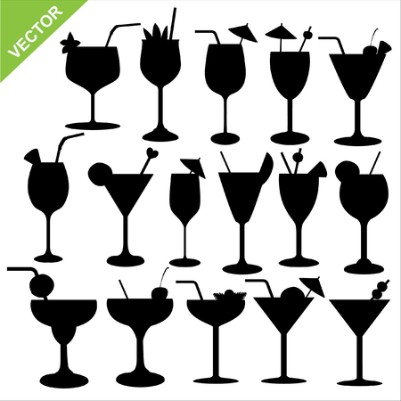 Set of cocktail silhouettes vector Vector