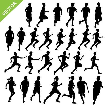 run: Silhouettes running vector