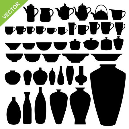 cup of tea: Tableware silhouette vector Illustration