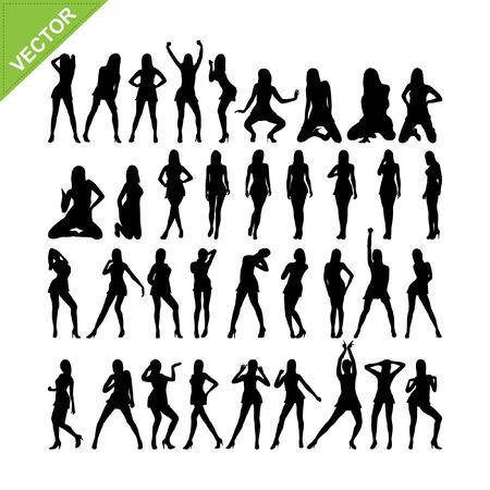 Sexy women adn dancing silhouettes vector set 15