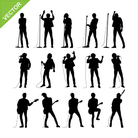 musician silhouette: Singer and musicians silhouettes