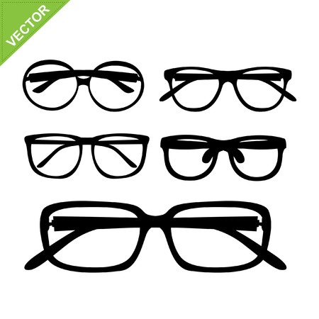 perforating: glasses silhouettes vector