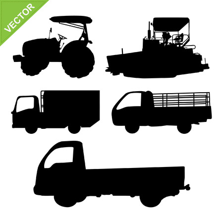 agronomics: truck and tractor silhouettes vector