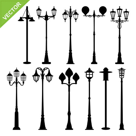 outdoor furniture: Retro street lamps silhouettes vector  Illustration