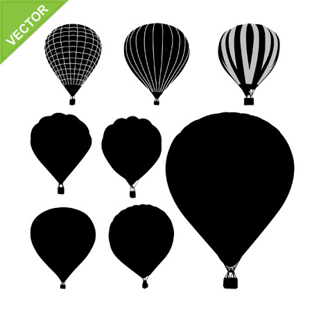 transportation silhouette: Hot air balloon silhouettes vector