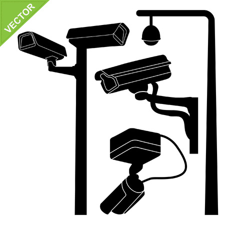 closed circuit television: CCTV camera silhouettes vector