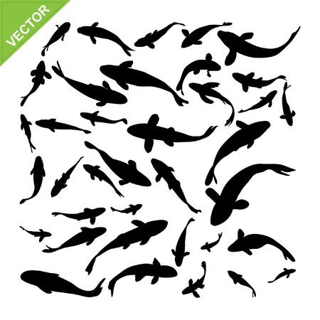 Top view of fish silhouettes vector