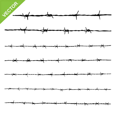 gaol: Barbed wire silhouettes vector