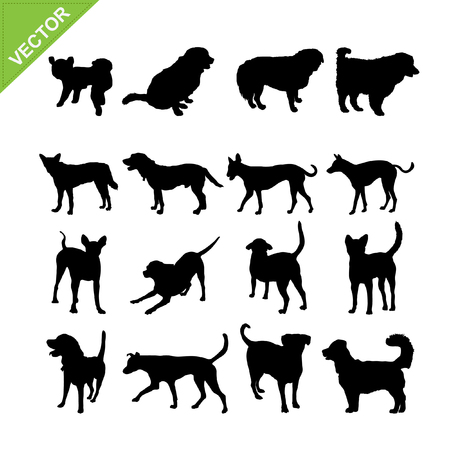 golden retriever puppy: Dogs silhouettes Illustration