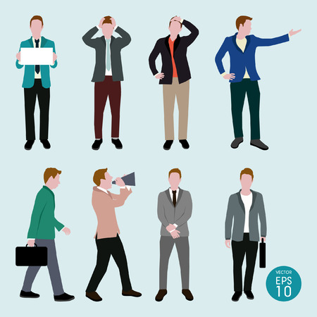 power point: Actions of Business man silhouettes vector