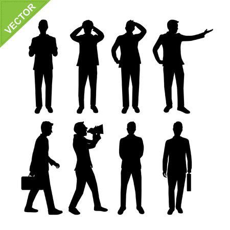 Acciones de hombre de negocios siluetas vector Vectores