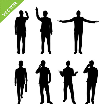 raised hand: Actions of Business man silhouettes vector