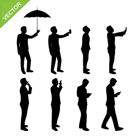 worker silhouette: Business man silhouettes vector