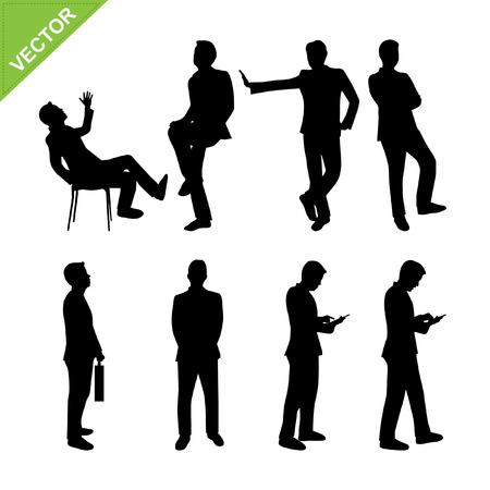 men: Business man silhouettes vector