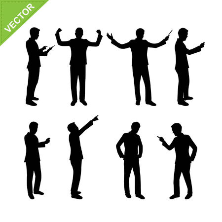 one people: Business man silhouettes vector