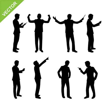 male silhouette: Negocios hombre siluetas vector