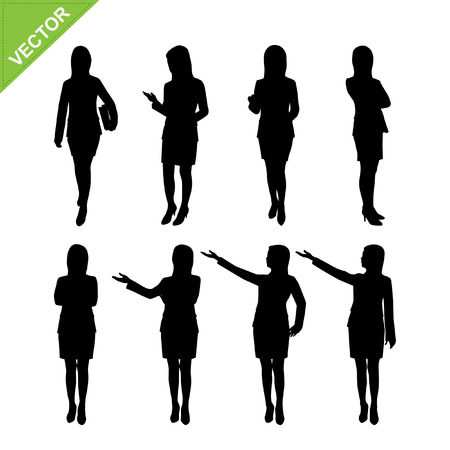 woman vector: Business woman silhouettes vector