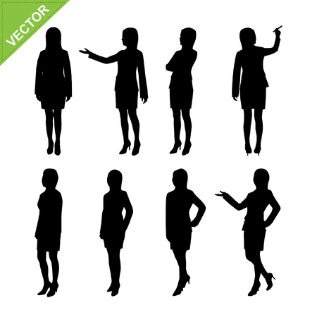 standing: Business woman silhouettes vector