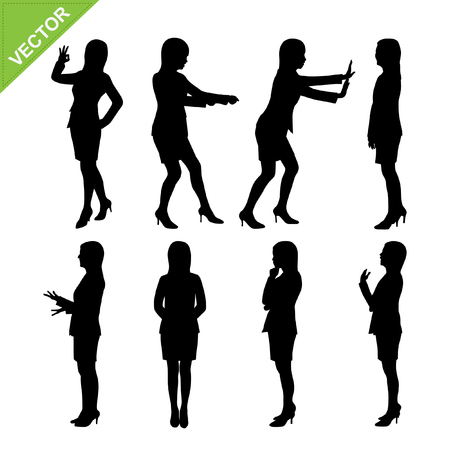 working woman: Business woman silhouettes vector