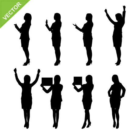 woman business suit: Business woman silhouettes vector