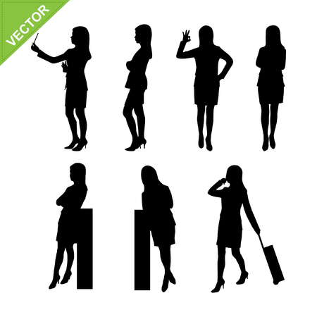 woman short hair: Business woman silhouettes vector