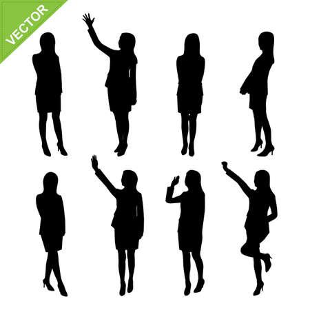 mujer trabajadora: Negocios mujer siluetas vector Vectores