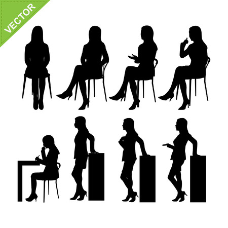sitting: Business woman silhouettes vector