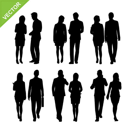 happy people: Business people silhouette