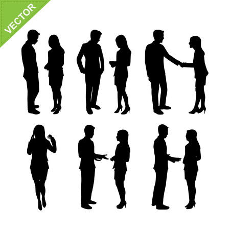 guy standing: Business people silhouette