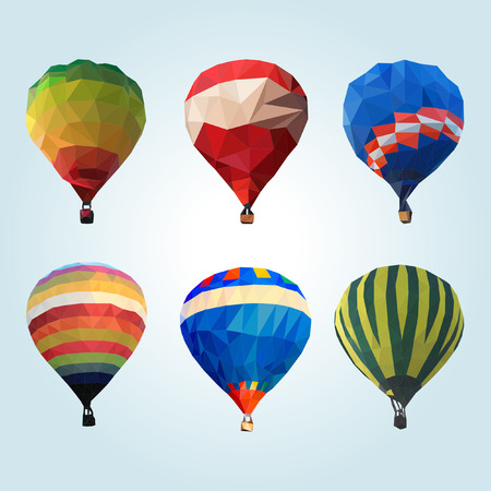 hot: Hot air balloon polygon vector