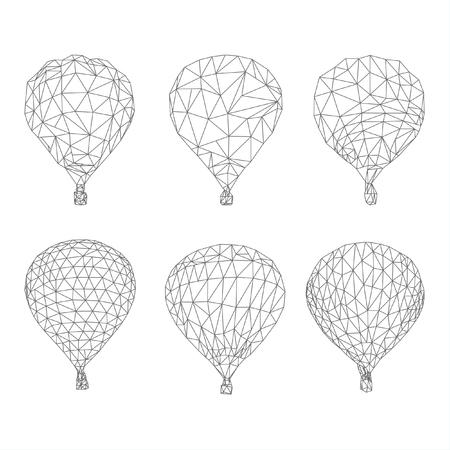 hot air ballon: Hot air balloon polygon vector