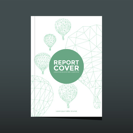 element template: Cover report hot air balloon pattern vector Illustration