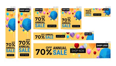 vectoe: Banner website sale off package with balloon polygon pattern vector