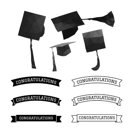 high end: Graduation cap polygon and congratulations element vector Illustration