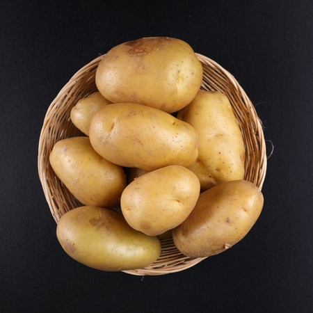 mashed potatoes: Top view Potatoes on basket
