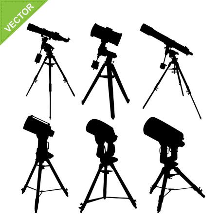 eyepiece: Telescope silhouette vector