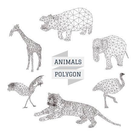 animal pattern: Animal polygon vector set 2 Illustration