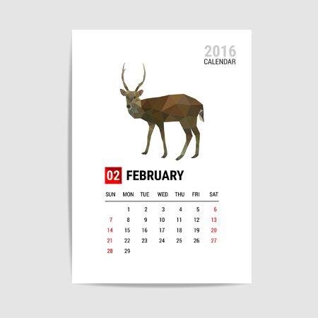 2016 February calendar, deer polygon vector Illustration