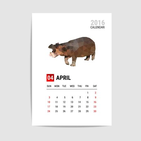 4월: 2016 April calendar, Hippopotamus polygon vector