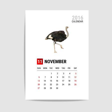calendario noviembre: 2016 calendario de noviembre, vector avestruz pol�gono