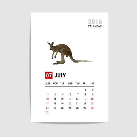 calendario julio: 2016 calendario de julio, vector Canguro pol�gono