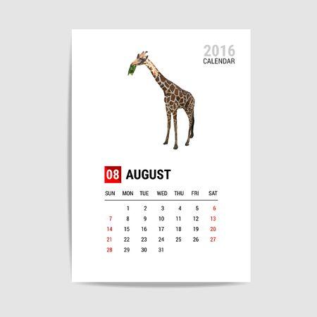 august calendar: 2016 August calendar, giraffe polygon vector