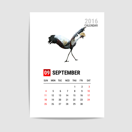 september calendar: 2016 September calendar, flamingo polygon vector Illustration