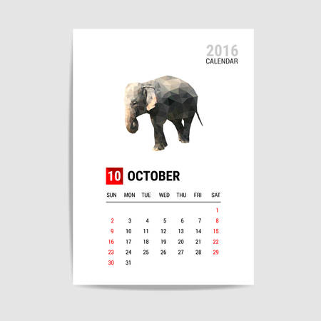 calendario octubre: 2016 calendario de octubre, vector pol�gono elefante