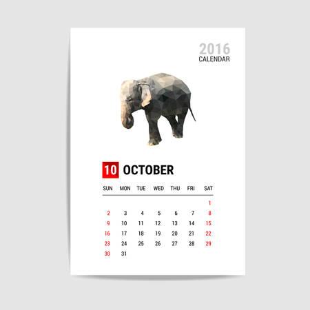 october: 2016 October calendar, elephant polygon vector Illustration