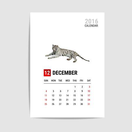 december calendar: 2016 December calendar, Tiger polygon vector Illustration