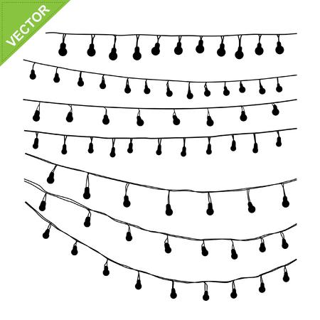 Hängende Glühbirnen Silhouette Vektor Standard-Bild - 47560113