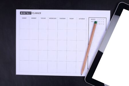 planner: Monthly planner with pencil and tablet