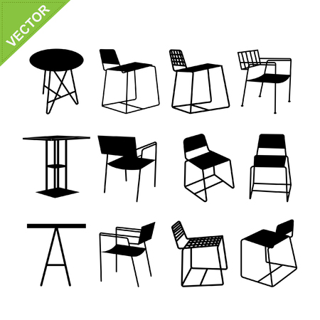 wood chair: Chair and table silhouettes