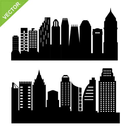 silhouettes: Skyline silhouettes Illustration